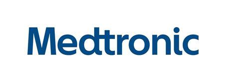 granatowe logo firmy Medtronic nabiałym tle